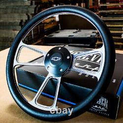 14 Billet Muscle Steering Wheel with Black Vinyl Wrap for 69-94 Chevy Car/Truck