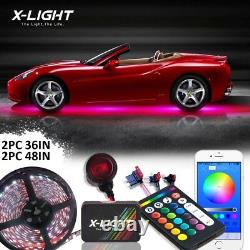 Bluetooth RGBW Car Truck Underglow Under Body Neon Accent Glow LED Lights Kit