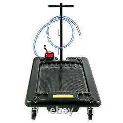 Low Profile Oil Drain Pan Portable 17 Gallon for Truck Car With Pump 8' Hose